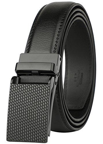 """Belt for Men, Genuine Leather Ratchet Dress Comfort Belt with Slide Click Buckle, Trim to Fit (28""""-44"""" Waist Adjustable, Black - VZ2033)"""