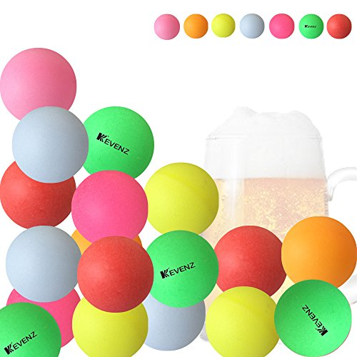 KEVENZ 50 Counts 40mm Beer Ping-Pong Multipul Color Balls, Plastic