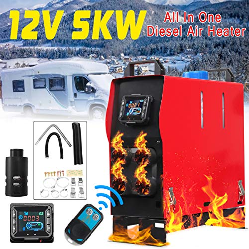 KingSo 12V 5KW All in One Diesel Air Heater + Remote Control for Car Bus RVs Trucks Van Pickup Boat Planar Warming (Four Holes)