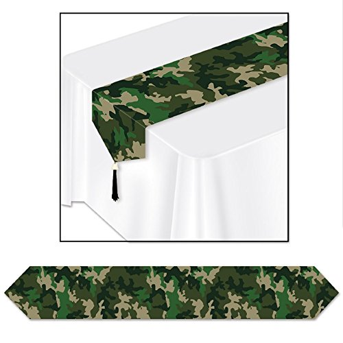 Pack of 12 Green Camo Table Runner Party Decorations 72