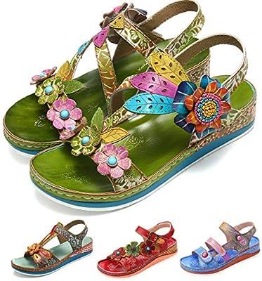 850aee0abef98 Camfosy Women's Sandals Summer Leather Low Wedge Platform Sandals ...