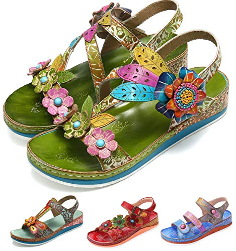 - Camfosy Leather Sandals for Women, Summer Flat Sandals Vintage Handmade Flower Pattern Low Wedge Platform Shoes Beach Non Slip Slippers Green 7 M US