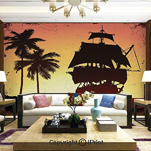 Lionpapa_mural Removable Wall Mural Ideal to Decorate Your Living Room,Buccaneers Ship Sailing on Mysterious Waters Tropic Palm Trees Grunge Mist,Home Decor - 100x144 inches