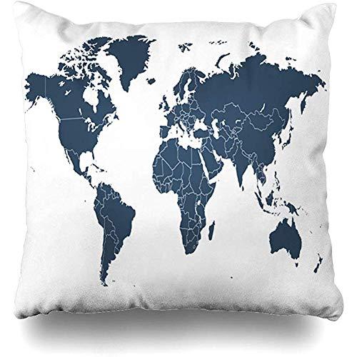Staroatl Throw Pillow Cover Africa Blank World Map America South Asia Atlas Australia Border Design Square Cushion Sofa Pillowcase 18 x 18 Inches Home Decor Pillow Case (South Africa Patio Covers Chair)