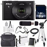 Nikon 1 J4 Mirrorless Digital Camera with 10-30mm Lens (Black) (International Model No Warranty) + EN-EL22 Battery + 8GB SDHC Memory Card + 6AVE Bundle