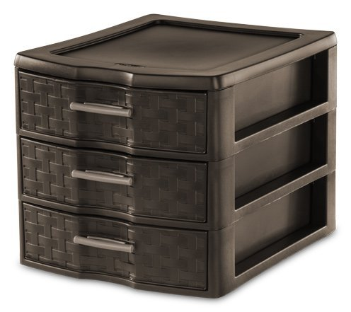 STERILITE Medium 3-Drawer Weave Unit, Espresso ()