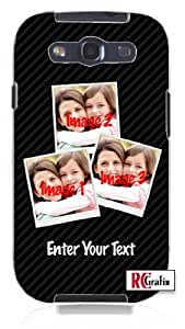 Personalized DIY CUSTOM Three Images Photo Collage Picture Frame with Name Unique Quality Rubber Soft TPU Case for Samsung Galaxy S3 SIII i9300 (WHITE)