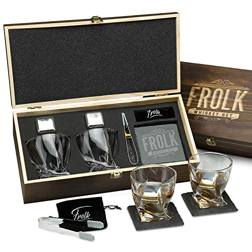 Premium Whiskey Stones Gift Set for Men - 2 King-Sized Chilling Stainless-Steel Whiskey Rocks - 11 oz 2 Large Twisted Whiskey Glasses, Slate Stone Coasters, Tongs - Luxury Set in Real Pine Wood Box