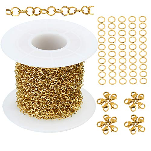 Tiparts 33 feet Circular Stainless Steel Rolo Cable Chains Jewelry Making Chains Necklace Bulk with 20 Lobster Clasps and 50 Jump Rings (Gold, Chain Width 3mm+20pcs Clasps+50 Rings)