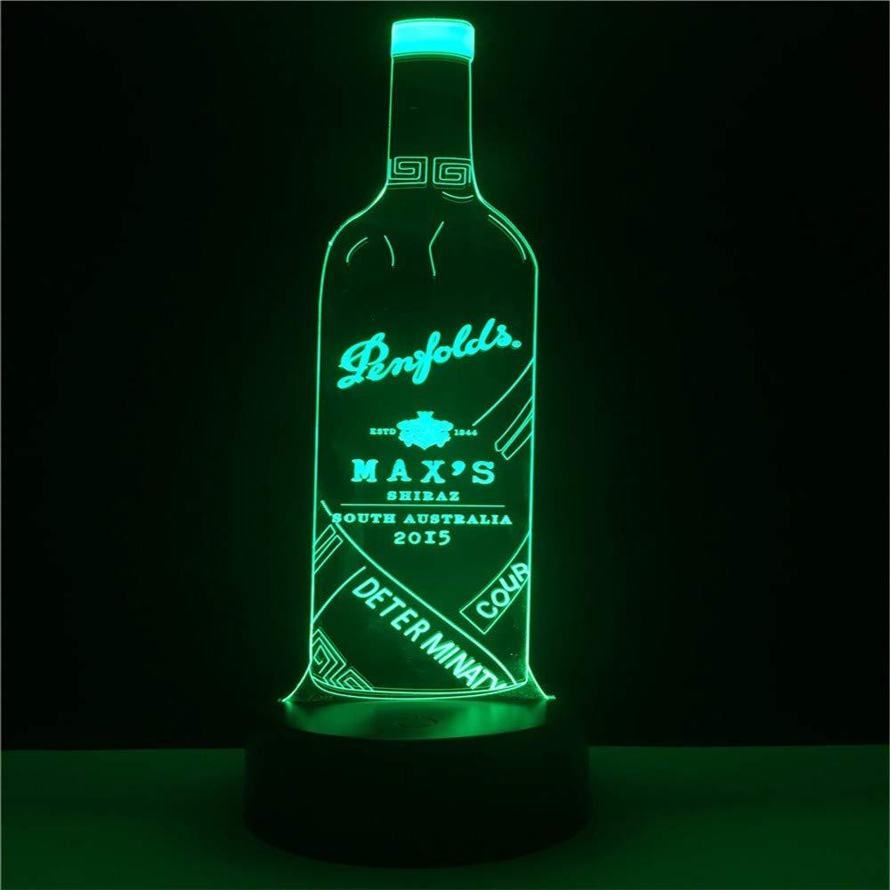 Lámpara De Noche Fresca Botella De Vino 3D Luz Nocturna Visual Lámpara De Dormir Interior Creativo Café Bar Centro Comercial Decoración Del Dormitorio ...