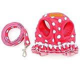 SELMAI Puppy Small Dog/Cat Dots Vest Harness Leash
