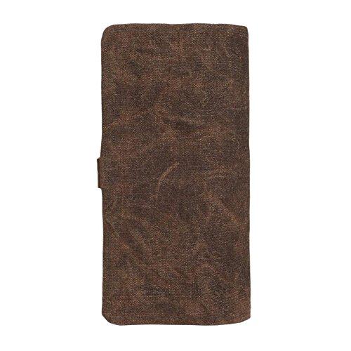 Mens Vintage Bifold for VRIKOO Organizer Leather Coffee Long Canvas Women Wallet Slim Purse Ow6qd5qR