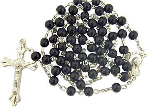 Black Glass Beads Rosary, 6mm Beads, Great for Men or Boys by (Rosary 6mm Glass Bead)