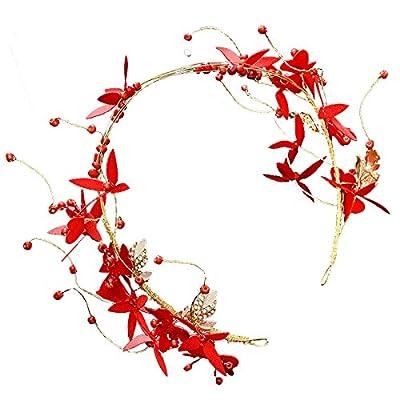 GTVERNH Le Collier De La Mariée Robe De Frises Rouge Fleurs Bijoux Et Accessoires De Mariage Et De Bijoux De Cheveux