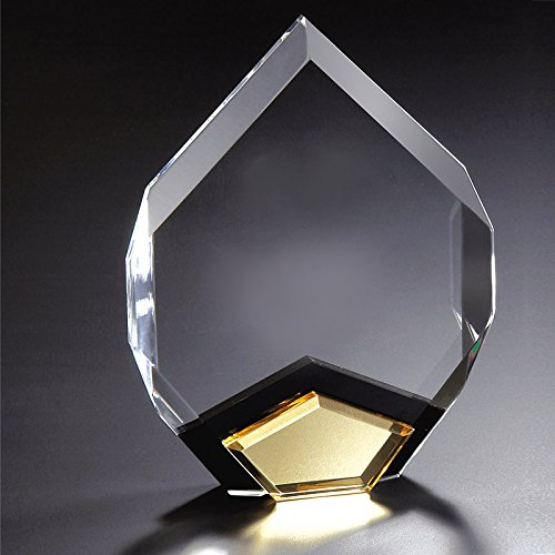 (Customizable 8 Inch Arrow Head Shape Clear Acrylic Award with Gold Mirror Base, Includes Personalization)