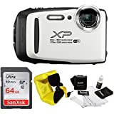 FujiFilm FinePix XP130 Rugged Waterproof WiFi Digital Camera (White) + Focus Floating Strap & SanDisk 64GB Card Bundle