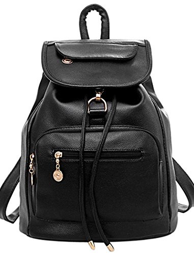 COOFIT Women Black Leather Backpack for Girls Drawstring Schoolbag Casual Daypack