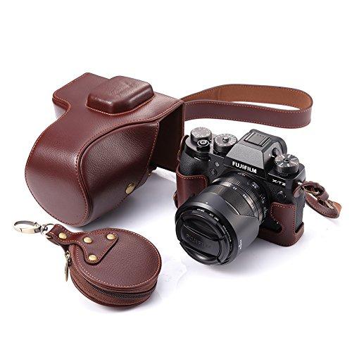 Fuji X-T2 Case, BolinUS Handmade Genuine Real Leather FullBody Camera Case Bag Cover for Fujifilm X-T2 Fuji XT2 With 18-55mm Lens Bottom Opening Version + Neck Strap + Mini Storage Bag - Brown