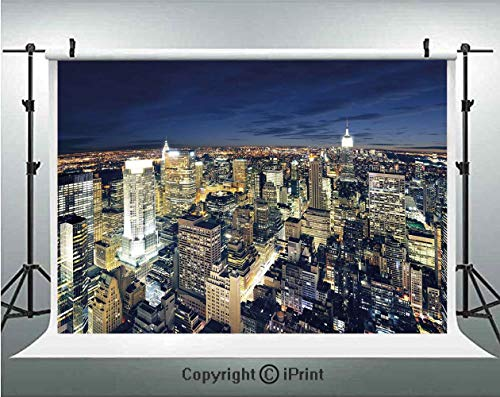 Urban Photography Backdrops Modern Cityscape After Sunset Manhattan New York USA Architectural View,Birthday Party Background Customized Microfiber Photo Studio Props,8x8ft,Yellow Tan Dark Blue