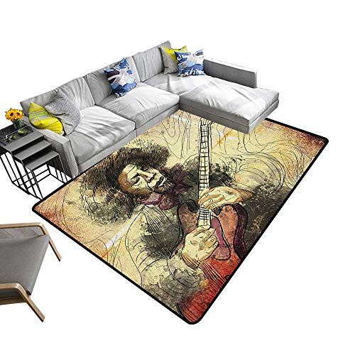 (Jazz Music Custom Pattern Floor mat Guitar Virtuoso Hand Drawn Style Illustration of a Guitar Player Musician 70