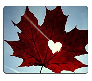 Maple Leaf Heart Sky Blue Mouse Pads Customized Made to Order Support Ready 9 7/8 Inch (250mm) X 7 7/8 Inch (200mm) X 1/16 Inch (2mm) High Quality Eco Friendly Cloth with Neoprene Rubber Liil Mouse Pad Desktop Mousepad Laptop Mousepads Comfortable Computer Mouse Mat Cute Gaming Mouse pad by mcsharks