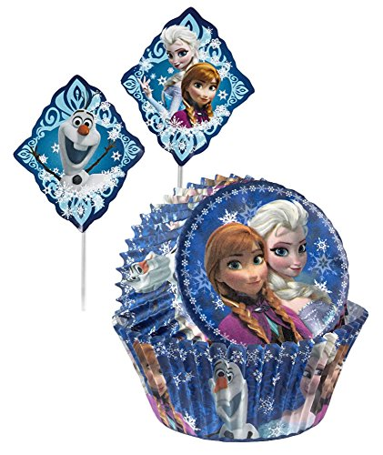 Wilton Frozen Anna, Elsa and Olaf Cupcake Baking Cups with Toppers