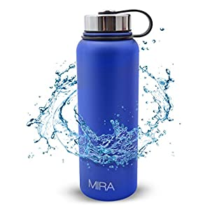 MIRA 40 Oz Stainless Steel Vacuum Insulated Wide Mouth Water Bottle | Thermos Keeps Cold for 24 hours, Hot for 12 hours | Double Walled Powder Coated Travel Flask | Blue