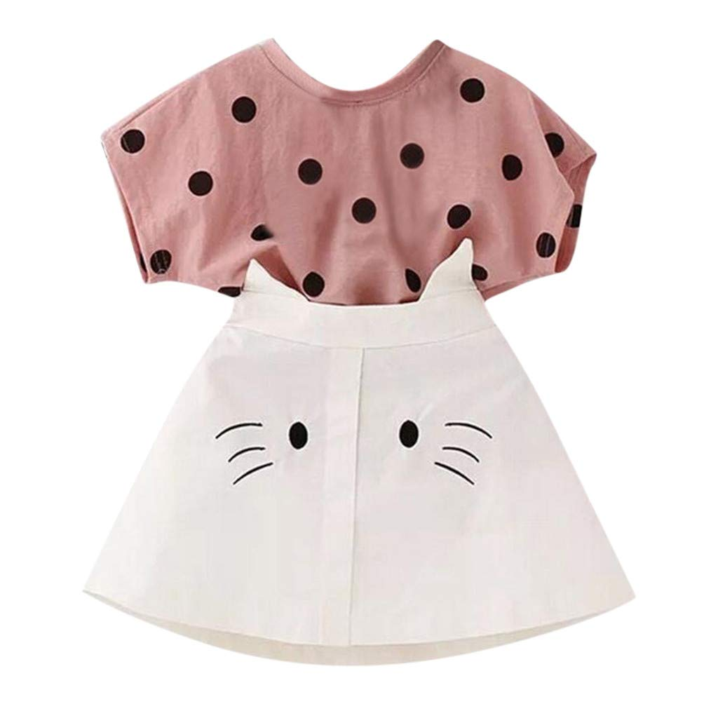 2019 Summer Fashion Toddler Kid Baby Girl Dot Print T-Shirt Outfits Cat Embroidery A-Line Skirt Set