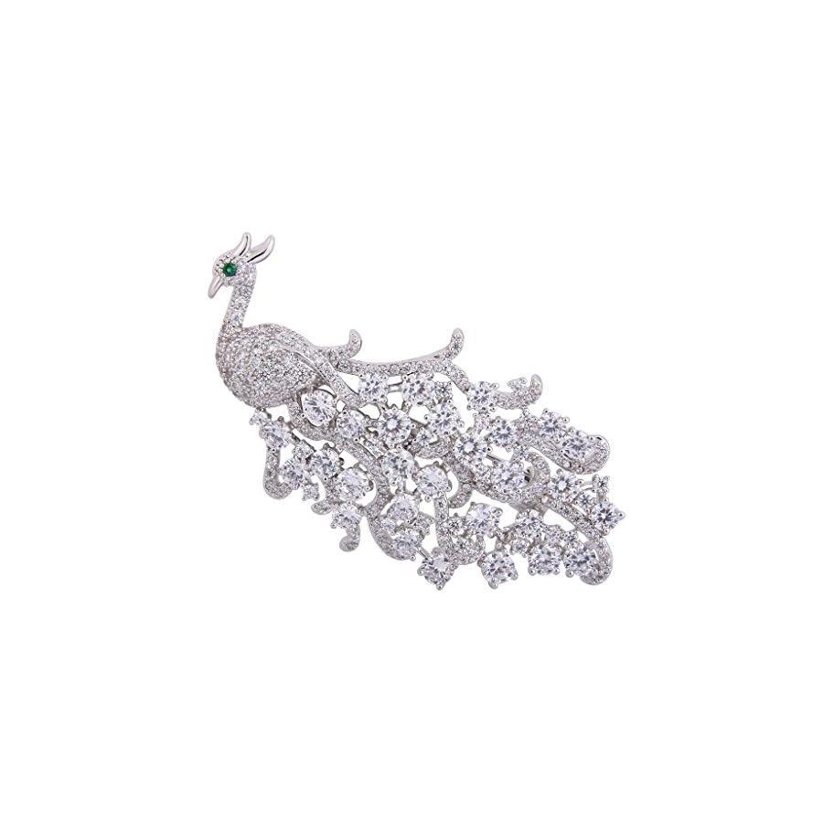 EVER FAITH Women's Full Cubic Zirconia Elegant Peacock Bird Animal Brooch Pin Clear