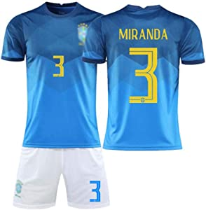 QW No.3 Soccer Jersey 20/21 Football Jerseys Brazil National Team Home/Away Game for Training and Competition Uniforms Adult and Child Sizes