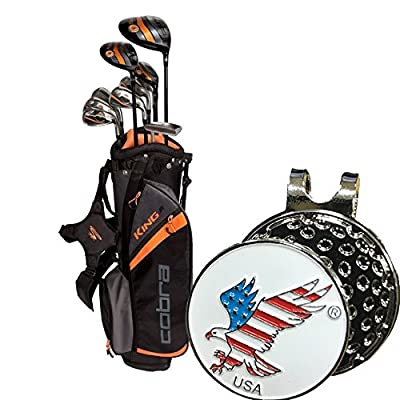 Bundle Cobra Junior Golf Club Set Complete Package King Series 11 Pieces age 13-15 Comes with a Set of Custom Design Ball Marker and Hat Clip Set