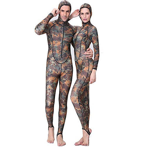 elegantstunning Swimming Diving Jumpsuit Men¡¯s Camouflage Ultraviolet-Proof Long Sleeve Hooded Thick Sunscreen Jellyfish Surfing Clothes XXL