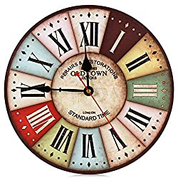 Modern Design Wooden Wall Clock Owl Rustic Shabby Chic Office Cafe Home Decoration Large Watch Durable Mute Movement Old Town 12 inch