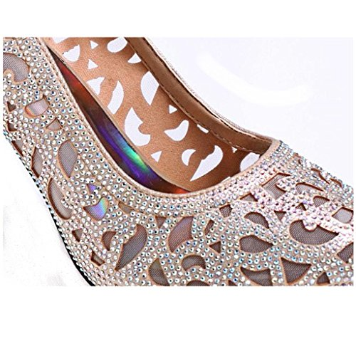 W&LM Hembra Tacones altos piel genuina Piel de carnero Zapatos huecos Ultra Tacones altos Propina Piedras de Strass Respirable Zapatos golden