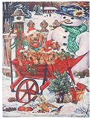 Cabilock Bandeira de jardim de Natal de linho dupla face com estampa de carro, bandeira, festival, artigos de festa para jardim em casa
