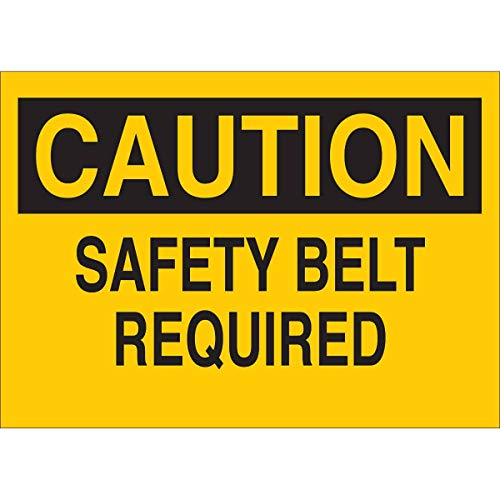 Brady 84561 Self Sticking Polyester 10 X 14 Caution Sign Legend Safety Belt Required