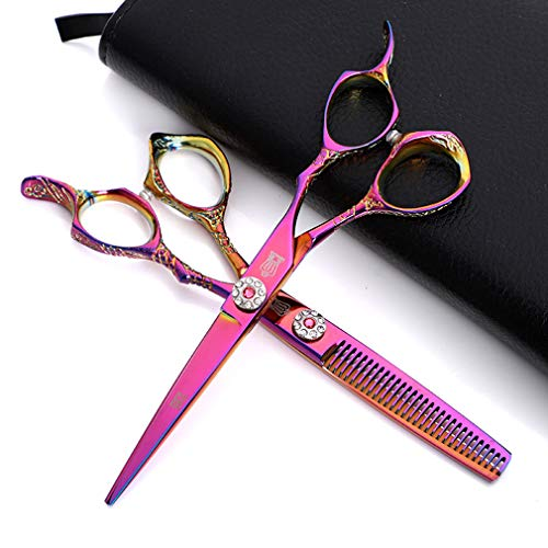 Professional Hair Cutting Scissors Barber Shears Set Hair Thinning Kit Salon Hairdressing Scissors with Case (#02 6.0in Multi-colored)