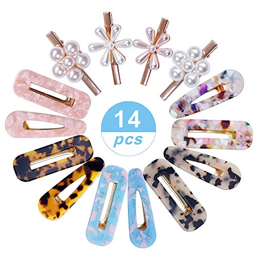 14 Pcs Acrylic Resin Hair Barrettes Fashion Geometric Alligator Hair Clips Artificial Pearl Hair Clips for Women and Ladies Hair Accessories