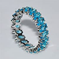 Siam panva Women Fashion 925 Sterling Silver Aquamarine Cluster Ring Wedding Jewelry Sz6-10 (8)