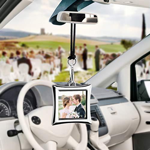 Libloop Car Auto Rearview Mirror Hanging Ornament Beautiful Photo Frame Locket Photo Frame Metal for Car Mirror (Rhombus)