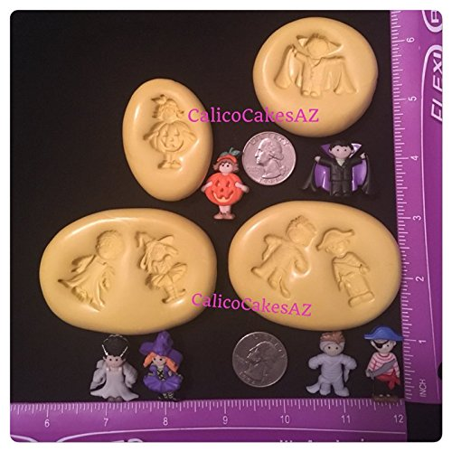 Halloween Costume Theme Fondant Mold Set Gumpaste Vampire Mummy Witch Pirate