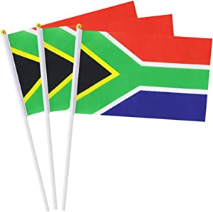 Mflagperft South Africa Flag South African Small Stick Mini Hand Held Flags Decorations 1 Dozen (12 Pack)
