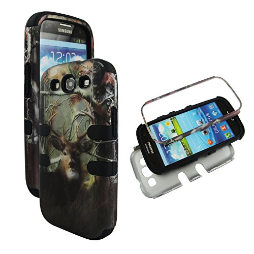 Samsung Galaxy S3 Camo - Hybrid 3 in 1 Black Camo Deer Pine Samsung Galaxy S3 / S 3 / III i9300 High Impact Shock Defender Plastic Outside with Soft Silicon Inside Drop Defender Snap-on Cover Case