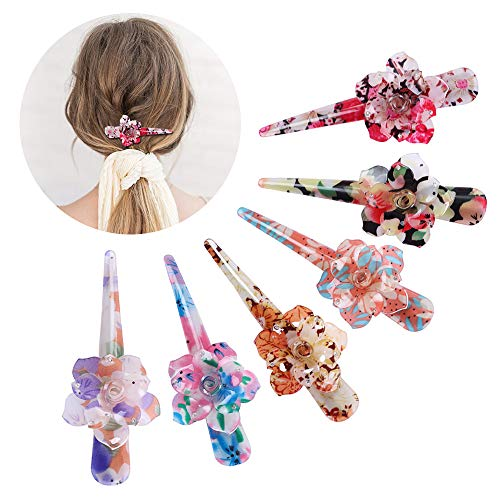 6 PCS Acrylic Resin Hair Clips Alligator Hair Barrettes Large Size Colorful Flower Shape Non Slip Long Hair Pins Hair Accessories for Women and Ladies Daily Party Hairstyling