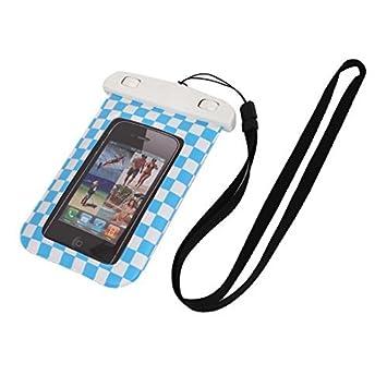 eDealMax Caso impermeable del teléfono celular de cuadrícula Imprime Dry Bag Bolsa de la cubierta Holder
