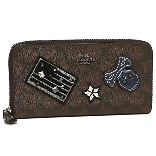 Coach Accordion Zip Wallet in Signature Coated Canvas Varsity Patches Brown/Black by Coach