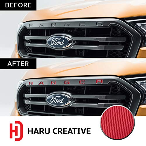 Haru Creative - Front Hood Grille Letter Insert Overlay Vinyl Decal Sticker Compatible with and Fits Ford Ranger 2019 - Carbon Fiber Red