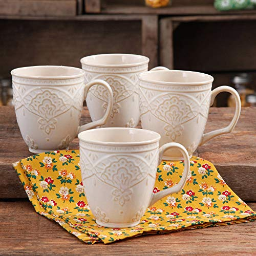 Charming Antique Style Farmhouse Lace Mug Set (LINEN) -
