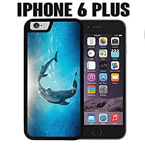 iPhone Case Cute Dolphin Painting for iPhone 6 PLUS Rubber Black (Ships from CA)