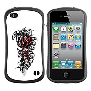 Fuerte Suave TPU GEL Caso Carcasa de Protección Funda para Apple Iphone 4 / 4S / Business Style Tribal Rose Skull